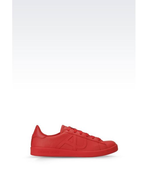 armani jeans sneaker in leather with logo in red for men. Black Bedroom Furniture Sets. Home Design Ideas
