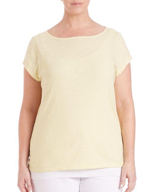 Eileen fisher slubby organic cotton jersey tee in beige for Eileen fisher organic cotton t shirt
