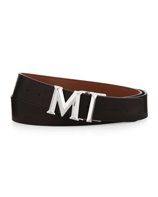 mcm m buckle smooth leather belt in black for lyst