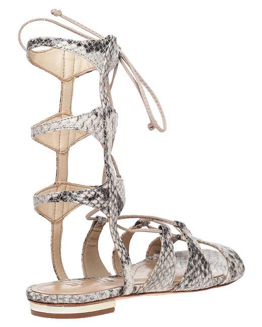 Schutz Erlina Snakeskin Print Leather Sandals In Gray