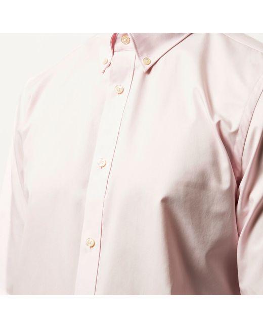 River Island Light Pink Twill Button Collar Slim Shirt In