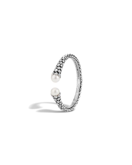 John Hardy | Metallic Dot Sterling Silver Diamond Pavé Kick Cuff With Cultured Freshwater Pearls | Lyst