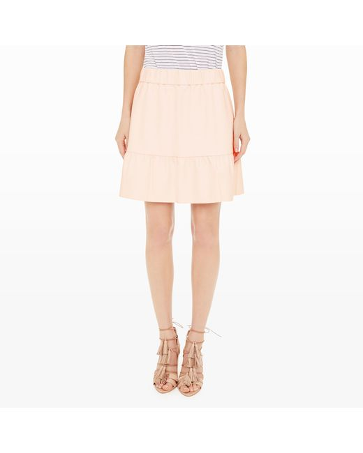 club monaco delani faux leather skirt in pink foundation