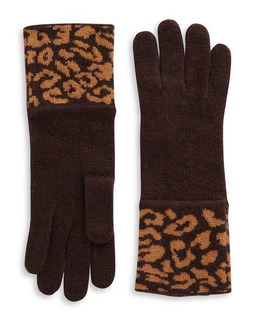 Portolano | Brown Leopord Print Cashmere Blend Gloves | Lyst
