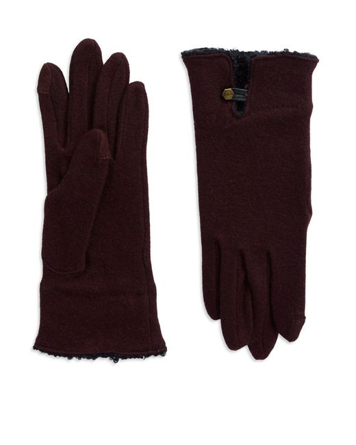 Lauren by Ralph Lauren | Purple Boucle Cuffed Wool Gloves | Lyst