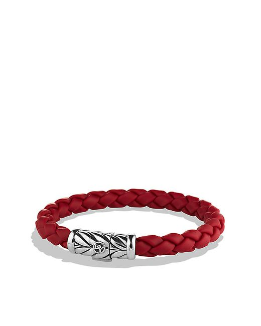 David Yurman Chevron Bracelet In Red In Silver For Men Lyst