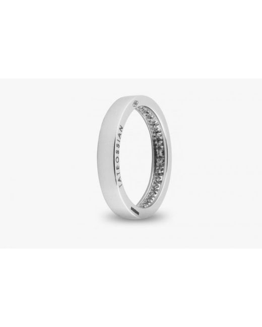 Tateossian | Metallic Engagement Ring In 18k White Gold With White Diamonds for Men | Lyst