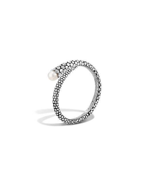 John Hardy | White Dot Sterling Silver Diamond Pave Kick Cuff With Cultured Freshwater Pearls | Lyst