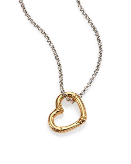 John Hardy | Metallic Bamboo 18k Yellow Gold & Sterling Silver Heart Pendant Necklace | Lyst