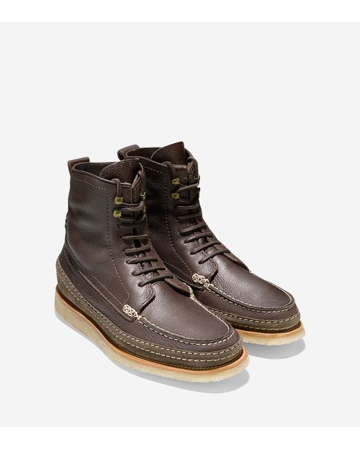 cole haan olmstead leather and suede boots in brown for