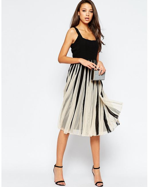 Asos Tall Mesh Insert Square Neck Fit And Flare Midi Dress
