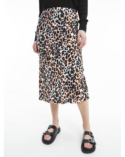 Calvin Klein Black Flared Midi Skirt