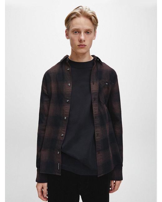 Calvin Klein Geruit Overhemd Van Gerecycled Katoen in het Brown voor heren