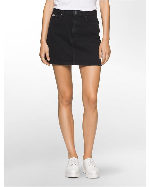 Calvin klein Jeans Dark Denim Mini Skirt in Black | Lyst