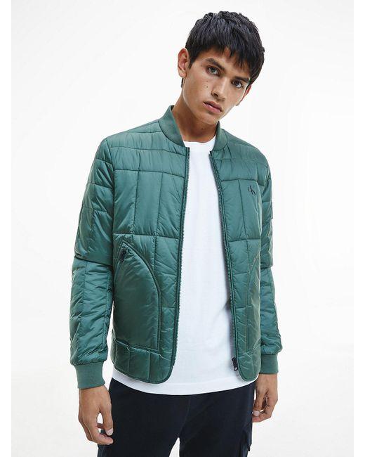 Calvin Klein Doorgestikt Bomberjack in het Green voor heren