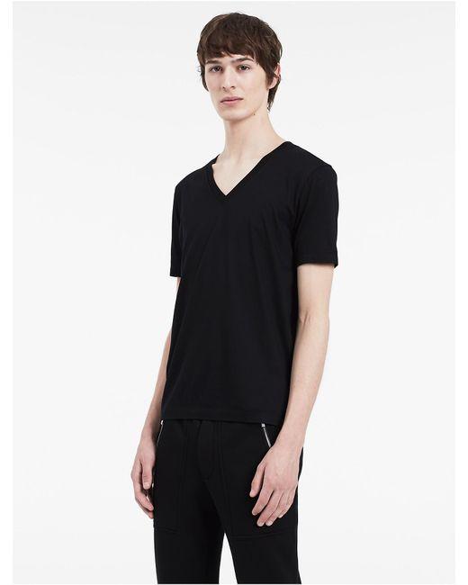 Calvin Klein | Black Platinum Platinum Cotton Lyocell V-neck T-shirt for Men | Lyst
