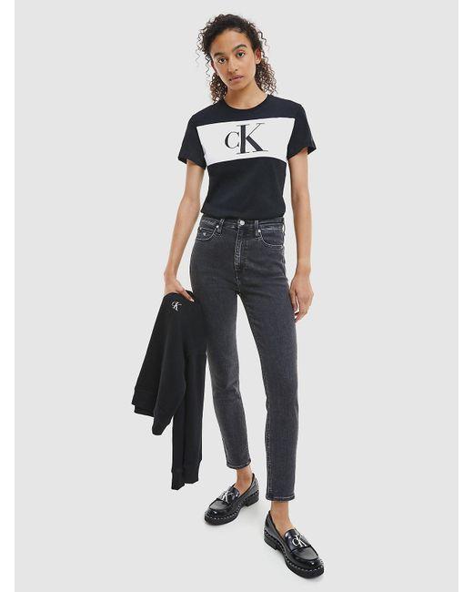 Calvin Klein Colour Block T-shirt Met Logo Van Biologisch Katoen in het Black