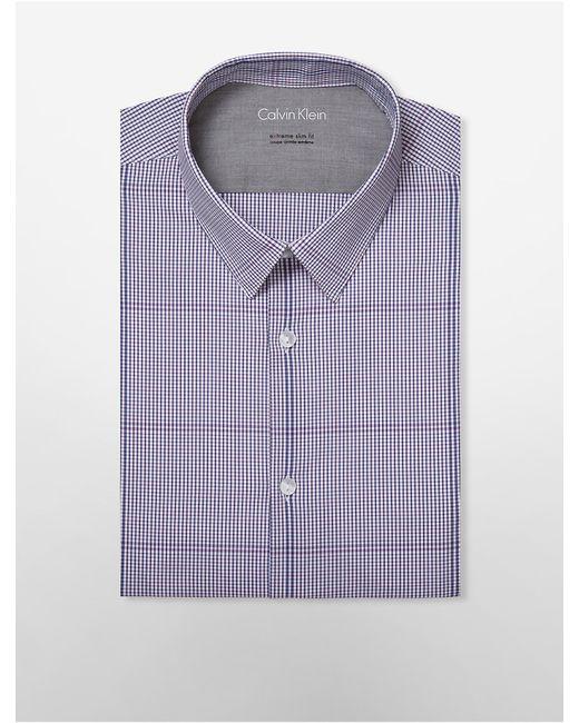 Calvin klein x fit ultra slim magenta navy check dress for Calvin klein x fit dress shirt