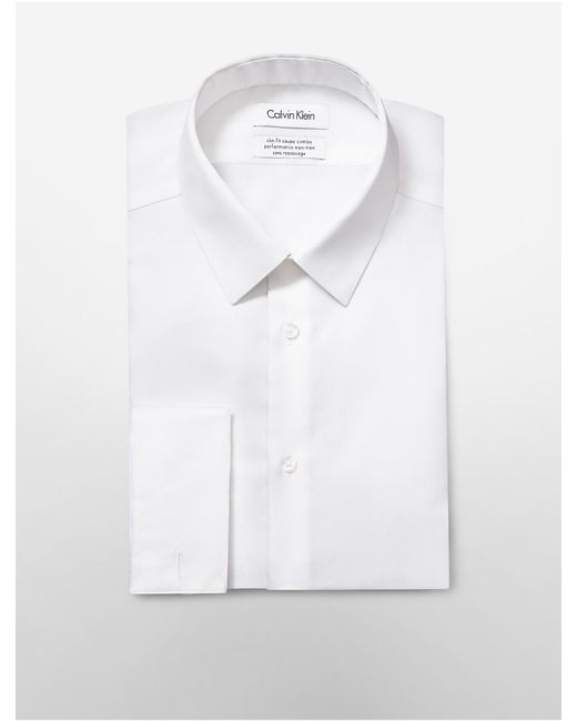 Calvin Klein | White Steel Slim Fit Bedford French Cuff Non-iron Dress Shirt for Men | Lyst