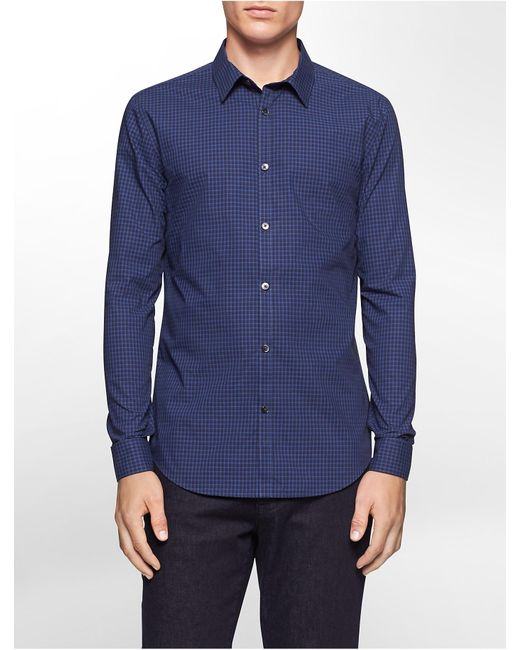 Calvin Klein | Blue Slim Fit Block Check Non-iron Shirt for Men | Lyst