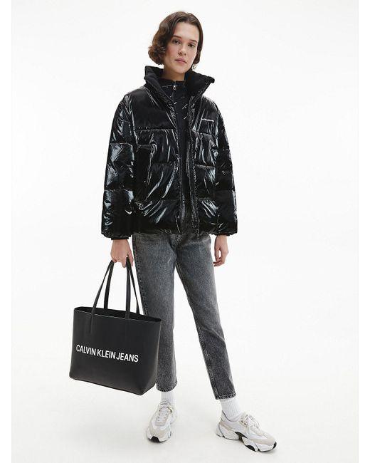 Calvin Klein Oversized Pufferjack Met hoogglans in het Black
