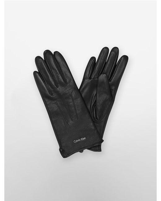 Calvin Klein | Black Leather Gloves | Lyst