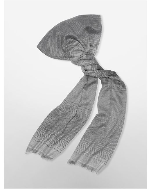 Calvin Klein   Gray Open Weave Stripe Lurex Scarf   Lyst