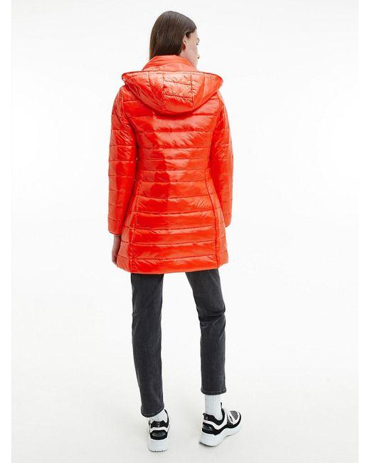 Calvin Klein Compact Lichtgewicht Donzen Donspufferjack in het Red