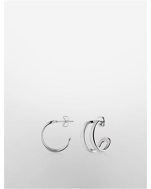 Calvin Klein | Metallic Platinum Return Earrings | Lyst