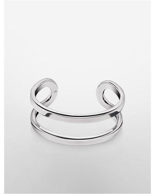 Calvin Klein | Metallic Platinum Return Open Cuff | Lyst