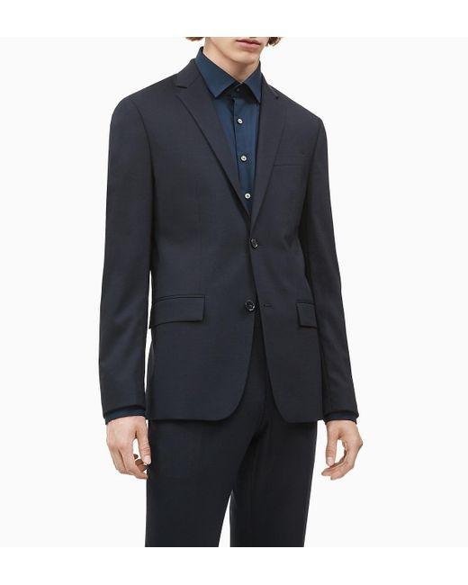 Blazer de lana el�stica ajustada con botonadura sencilla Calvin Klein de hombre de color Blue