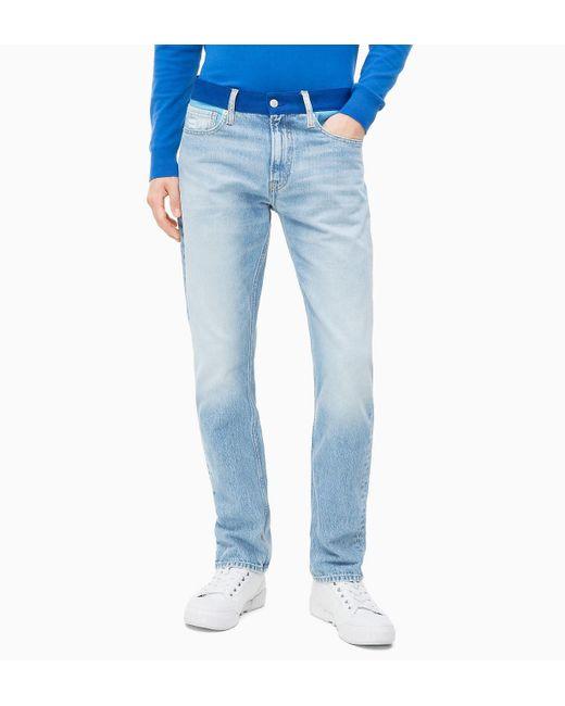 Calvin Klein Blue Ckj 026 Slim Colour Block Jeans for men