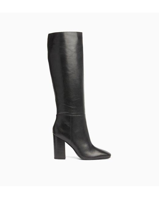 Calvin Klein Black Leather Heeled Boots