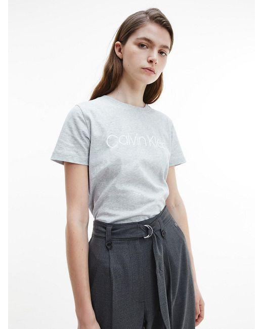 Calvin Klein T-shirt Met Logo Van Biologisch Katoen in het Gray