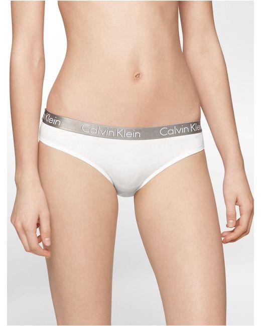 CALVIN KLEIN 205W39NYC - White Underwear Logo Cotton Stretch Bikini - Lyst