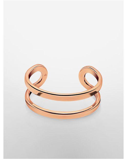 Calvin Klein   Pink Platinum Return Rose Gold Open Cuff   Lyst