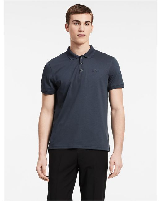 CALVIN KLEIN 205W39NYC - Blue Classic Fit Solid Liquid Cotton Polo Shirt for Men - Lyst