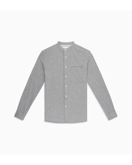 Calvin Klein Gray Flannel Band Collar Shirt for men