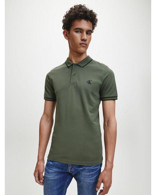 Calvin Klein Slim Stretch Piqu Polo in het Green voor heren