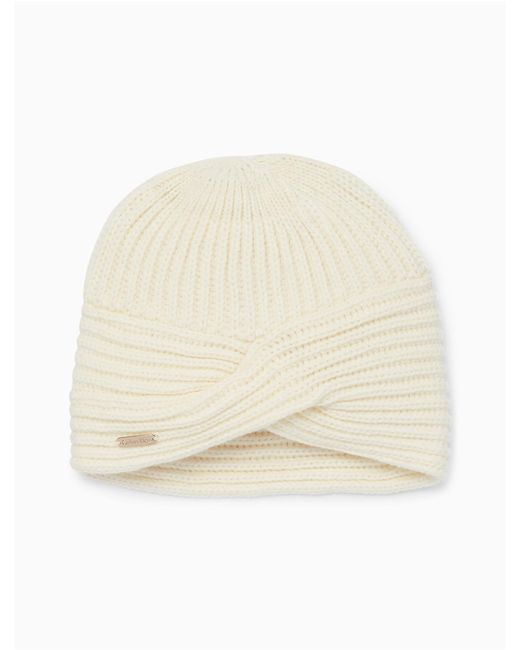 Calvin Klein | Natural Solid Ribbed Turban Hat | Lyst