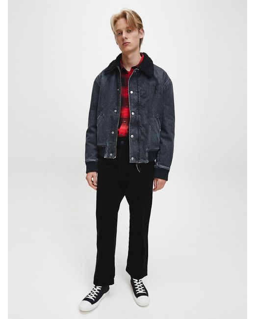 Calvin Klein Imitatiesherpa Denim Bomberjack in het Black voor heren