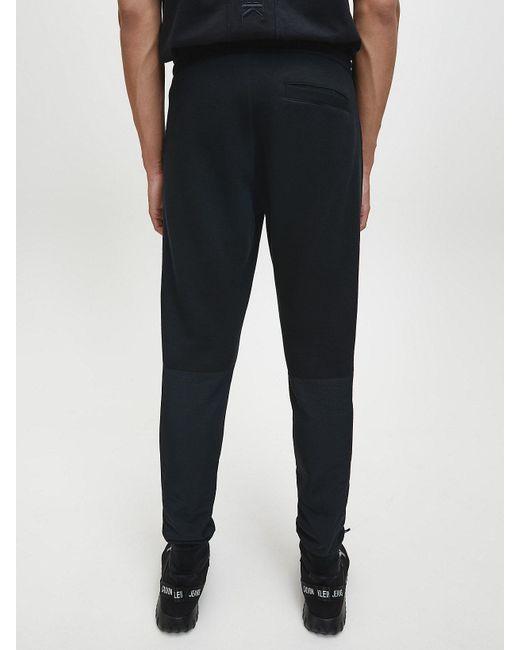 Calvin Klein Slim joggingbroek Van Materiaalmix in het Black voor heren