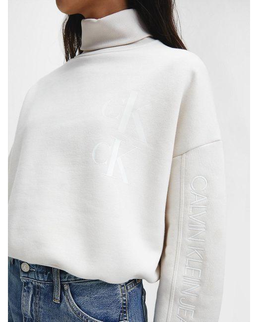 Calvin Klein Gerecycled Sweatshirt Van Katoenmix Met Logo in het Natural