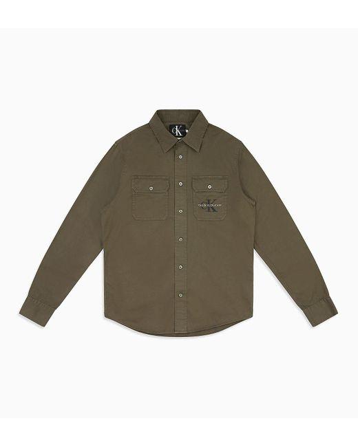 Calvin Klein Green Cotton Twill Logo Shirt for men