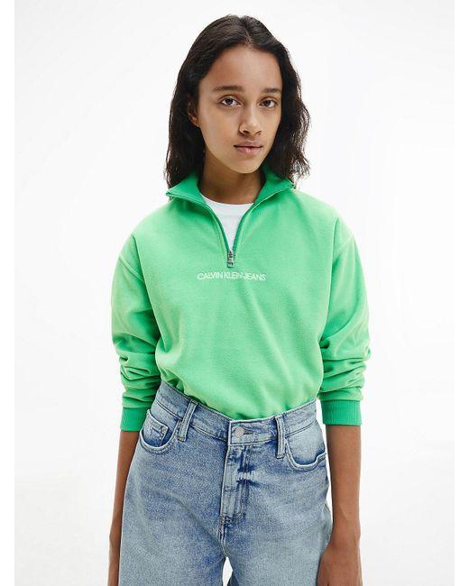 Calvin Klein Sweatshirt Van Polar Fleece Met Halsrits in het Green