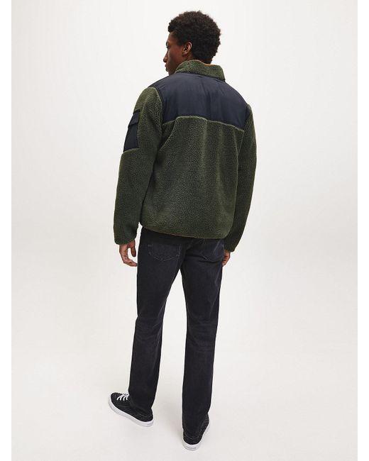 Calvin Klein Imitatiesherpa Jack Met Rits in het Green voor heren