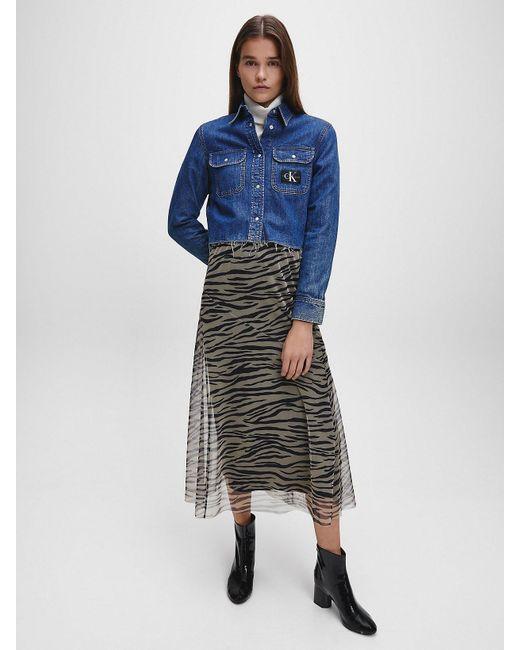 Calvin Klein Denim Cropped Utility Overhemd in het Blue