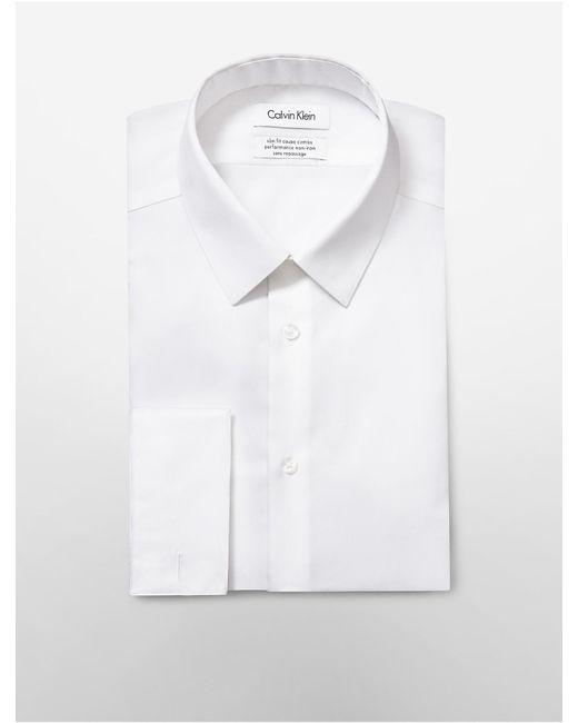 Calvin Klein   White Steel Slim Fit Bedford French Cuff Non-iron Dress Shirt for Men   Lyst