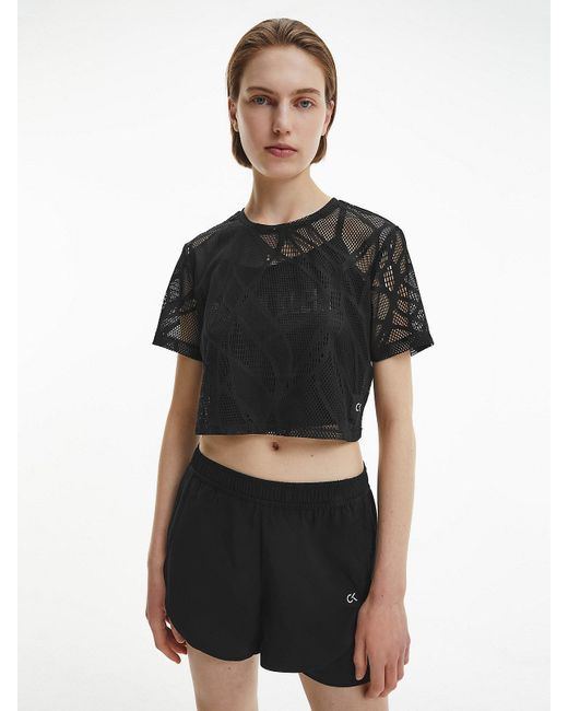 Calvin Klein Cropped T-shirt Met Kant in het Black