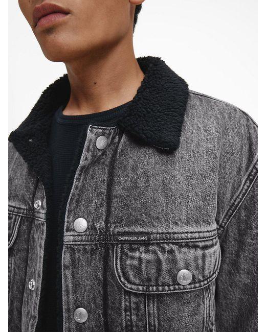 Calvin Klein Sherpa Spijkerjas in het Gray voor heren